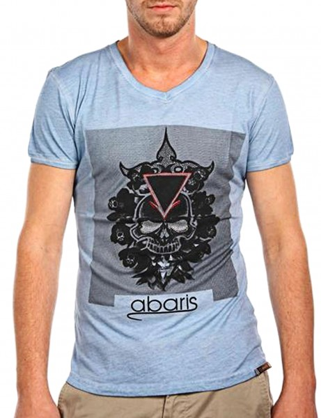 Temple Skull T-Shirt Herren Oberteil T-Shirt 13-1013_Light Blue Hip hop Tee