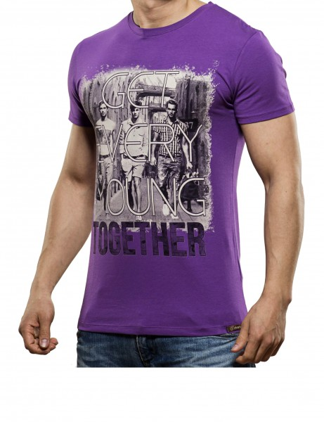 Young together T-Shirt Herren Oberteil T-Shirt 13-2023_Purple Hip hop Tee