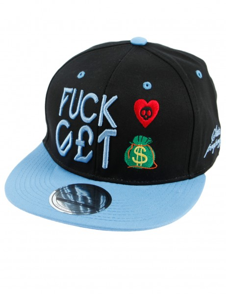 State Property Herren Caps F**K Love Get Money_Black/Sky Kappe Mütze Basecap