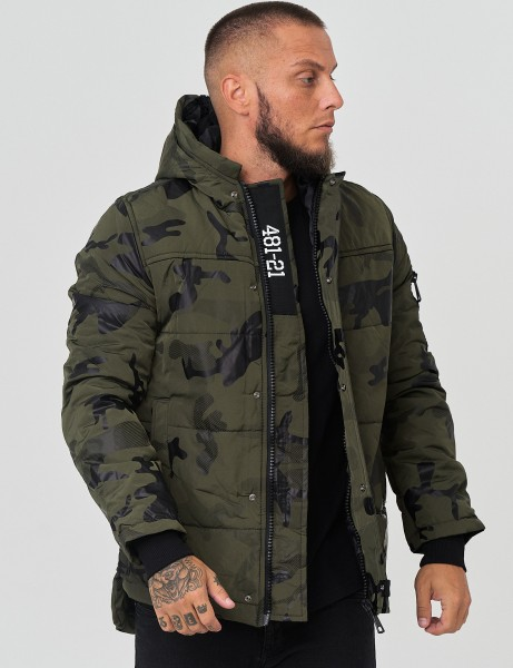 French Fashion P-143 Mens Parka Camouflage Green