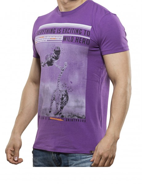 Wild Hero T-Shirt Herren Oberteil T-Shirt 13-2022_Purple Hip hop Tee