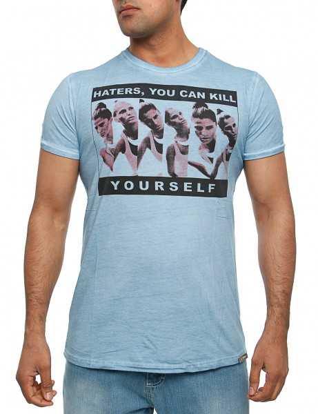 Haters kill yourself T-Shirt Herren Oberteil T-Shirt 13-004_Blue Hip hop Tee