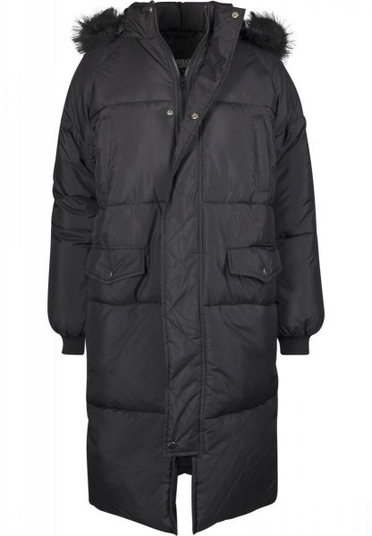 Urban Ladies Oversize Faux Fur Puffer Coat TB2382-00017 Black