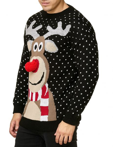 Festive Christmas Rudolph The Red Nosed Sweater Black