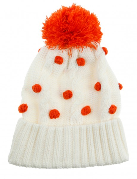 Cityhunter Ck1060 Water Drop Cable Pom Pom Knit Hat Orange White