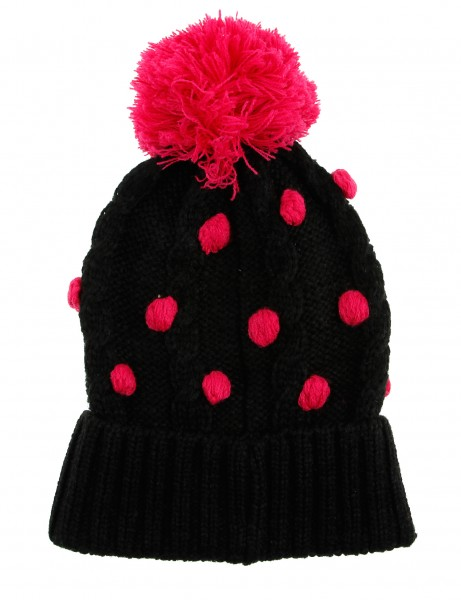 Cityhunter Ck1060 Water Drop Cable Pom Pom Knit Hat Pink Black