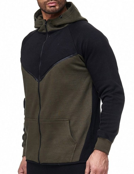 Aim Zip Hoody 004H Black OLIVE