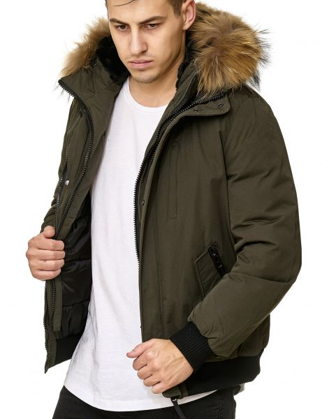 Real Fur Hooded Winter Jacket PI-7015 OLIVE
