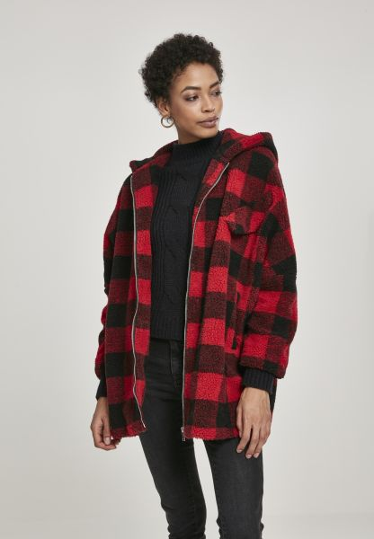 Ladies Hooded Oversized Check Sherpa Jacket TB3056-01440 Red