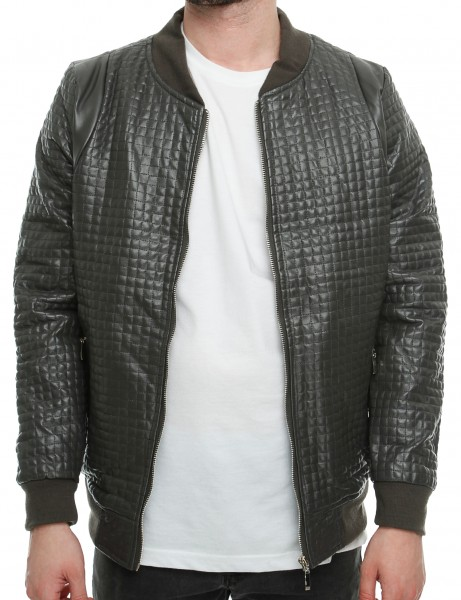 Imperious Pop-Up Quilted Bomber Jacket JK508 Charcoal Grey