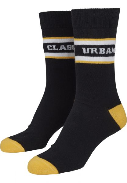 Urban Classics Logo Stripe Sport Socks 2-Pack TB2156-01181 Black