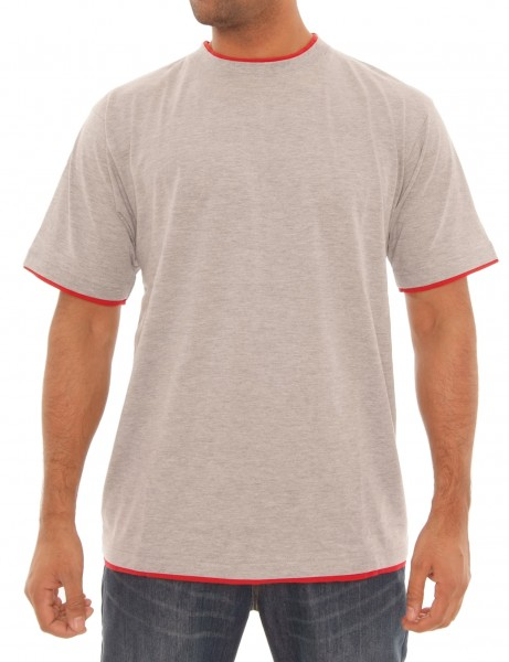 Raw Blue Basic Herren Oberteil T-Shirt RBB-1010_H.Grey/Red Hip hop Tee