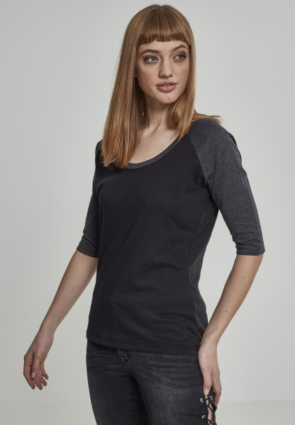 Urban Ladies 3/4 Contrast Raglan Tee Black/Charcoal TB733-01307 Black