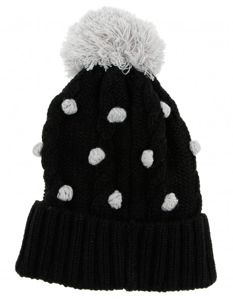 Cityhunter Ck1060 Water Drop Cable Pom Pom Knit Hat Grey Black
