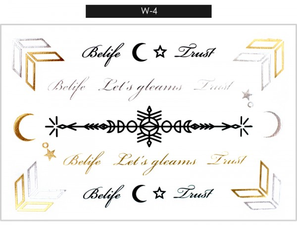 Gleams Metallic Tattoo Gold Silver Black
