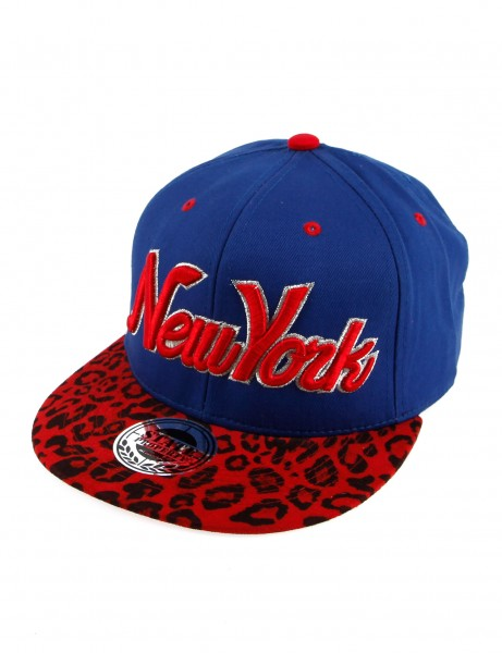 State Property Herren Caps New York Leopard Cap_Royal/Red Leo Kappe Mütze Cappy