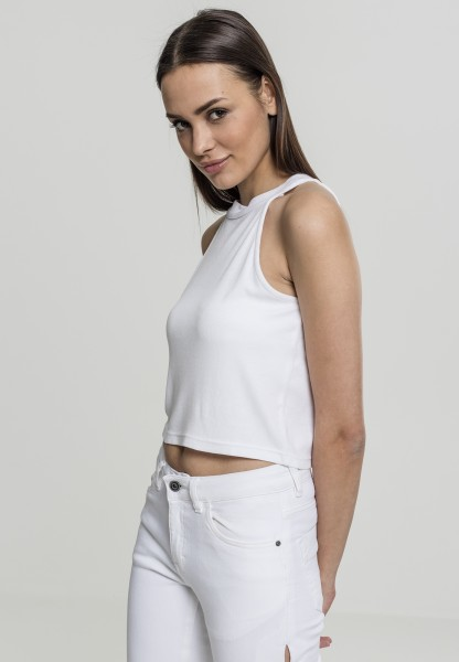 Urban Ladies Rib Turtleneck Cropped Top White TB1894-00220 White