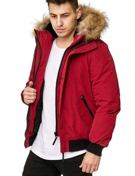 Real Fur Hooded Winter Jacket PI-7015 Red
