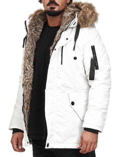 Yes Design Men Fur Hooded Winter Jacket RS05A White
