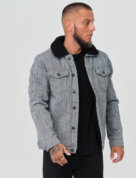 French Fashion 4225 Mens Denim Jacket Grey