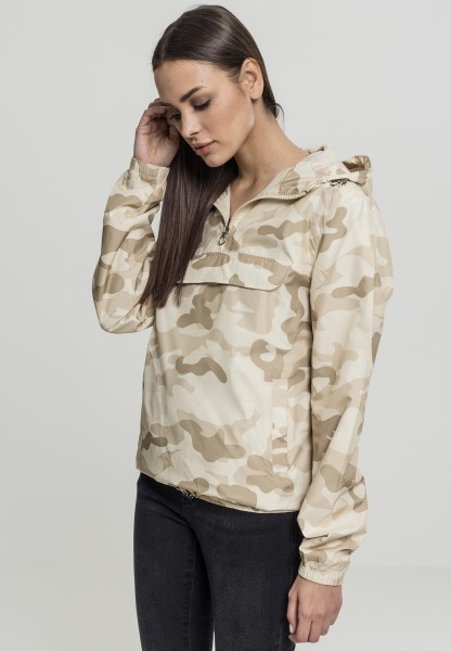 Urban Ladies Camo Pull Over Jacket Sand Camo TB2015-00867 Camo
