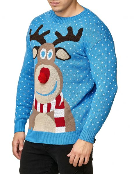 Festive Christmas Rudolph The Red Nosed Sweater Sky Blue
