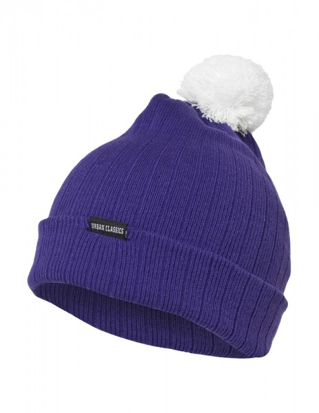 Contrast Bobble Beanie Purple