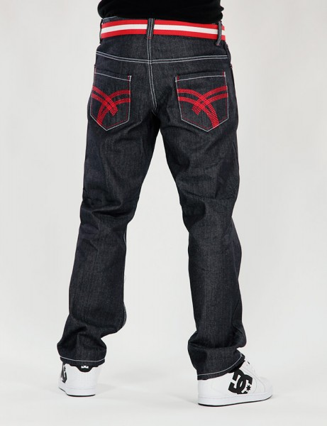 Raw Blue Basic Herren Jeans Baggys EJ-9009 Indigo/Red Hose Denim Hip Hop Skater