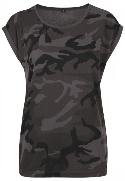 WOMENS Basic Ladies Extended Shoulder Camo Tee darkcamo BY112-20707