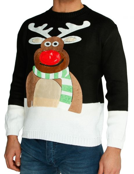 Festive Christmas Sweater Rudolph Flashing Nose Black