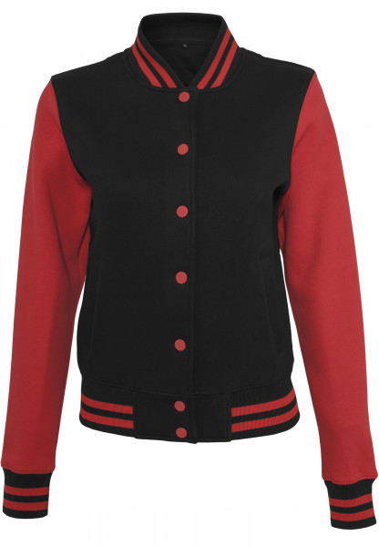 WOMENS Basic Ladies Sweat College Jacket blk/red BY027-20044