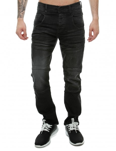 Crosshatch Herren Hosen CH109703_Black Wash Hose slim fit stretch denim Jeans