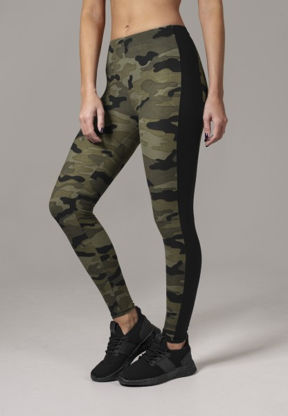 Urban Classics Ladies Camo Stripe Leggings woodcamo/blk TB1530-00459 Camo