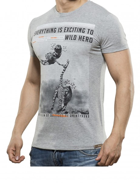 Wild Hero T-Shirt Herren Oberteil T-Shirt 13-2022_Grey Hip hop Tee