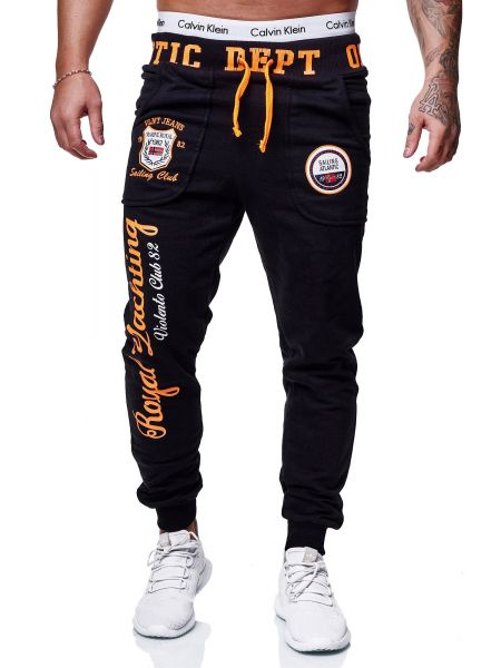 Redox Mens Sweatpants JG-601C Black Orange