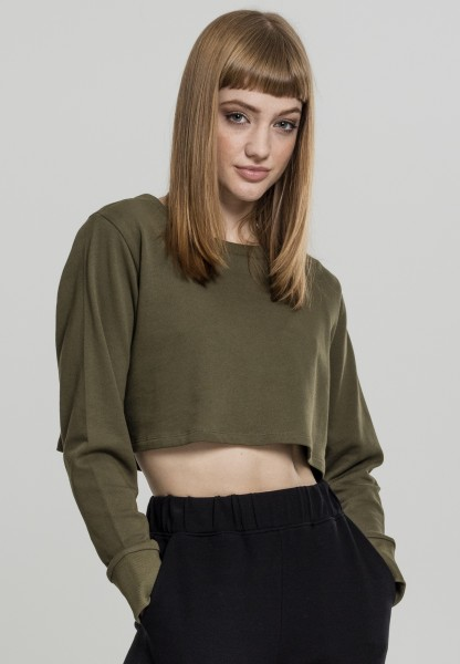 Urban Ladies Terry Cropped Crew Olive TB1970-00176 OLIVE
