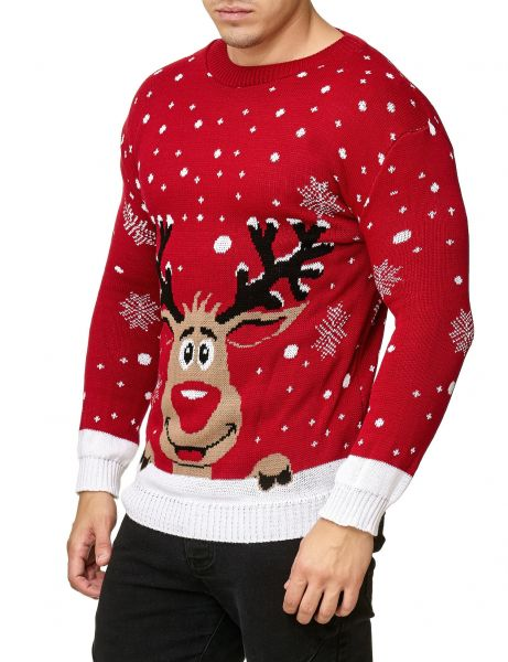 Festive Christmas Rudolph Snowflakes Sweater Red