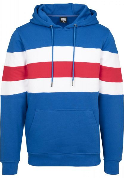 Urban Classics Chest Striped Hoody TB2507-01564 Blue