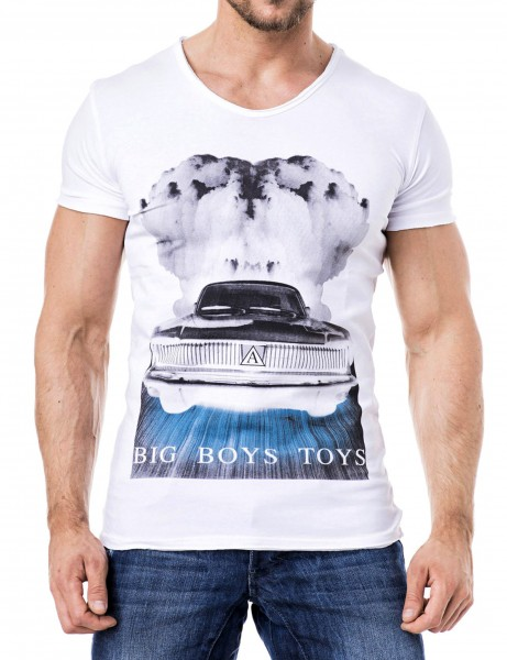 Smoking Car V-Neck T-Shirt Herren Oberteil T-Shirt SS14-04_White Hip hop Tee