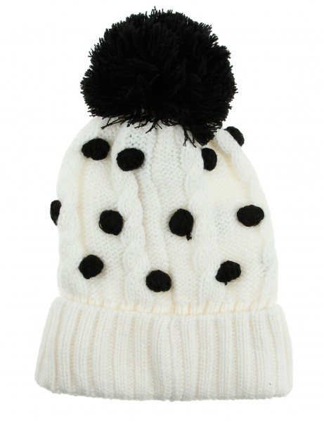 Cityhunter Ck1060 Water Drop Cable Pom Pom Knit Hat Black White