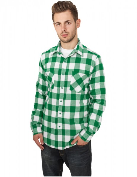 Checked Flanell Shirt TB297 wht/grn White