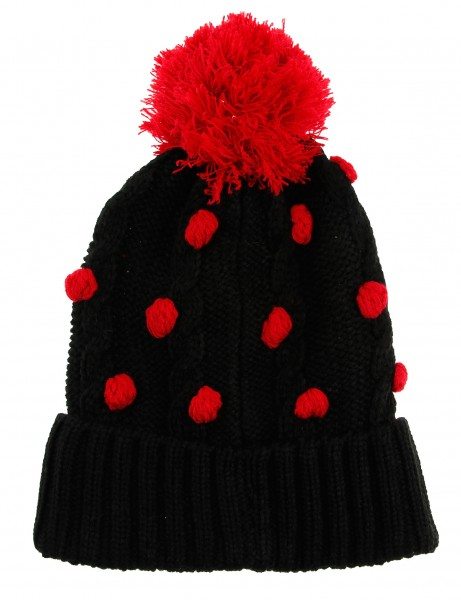 Cityhunter Ck1060 Water Drop Cable Pom Pom Knit Hat Red Black
