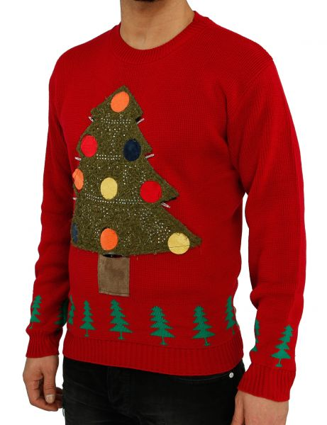 Festive Christmas Sweater Christmas Tree Lights Red