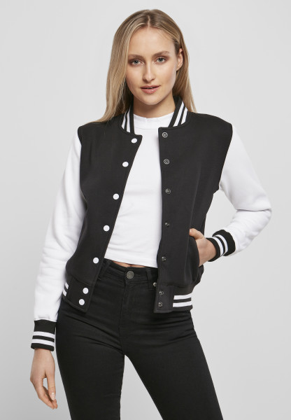 WOMENS Basic Ladies Sweat College Jacket blk/wht BY027-20050