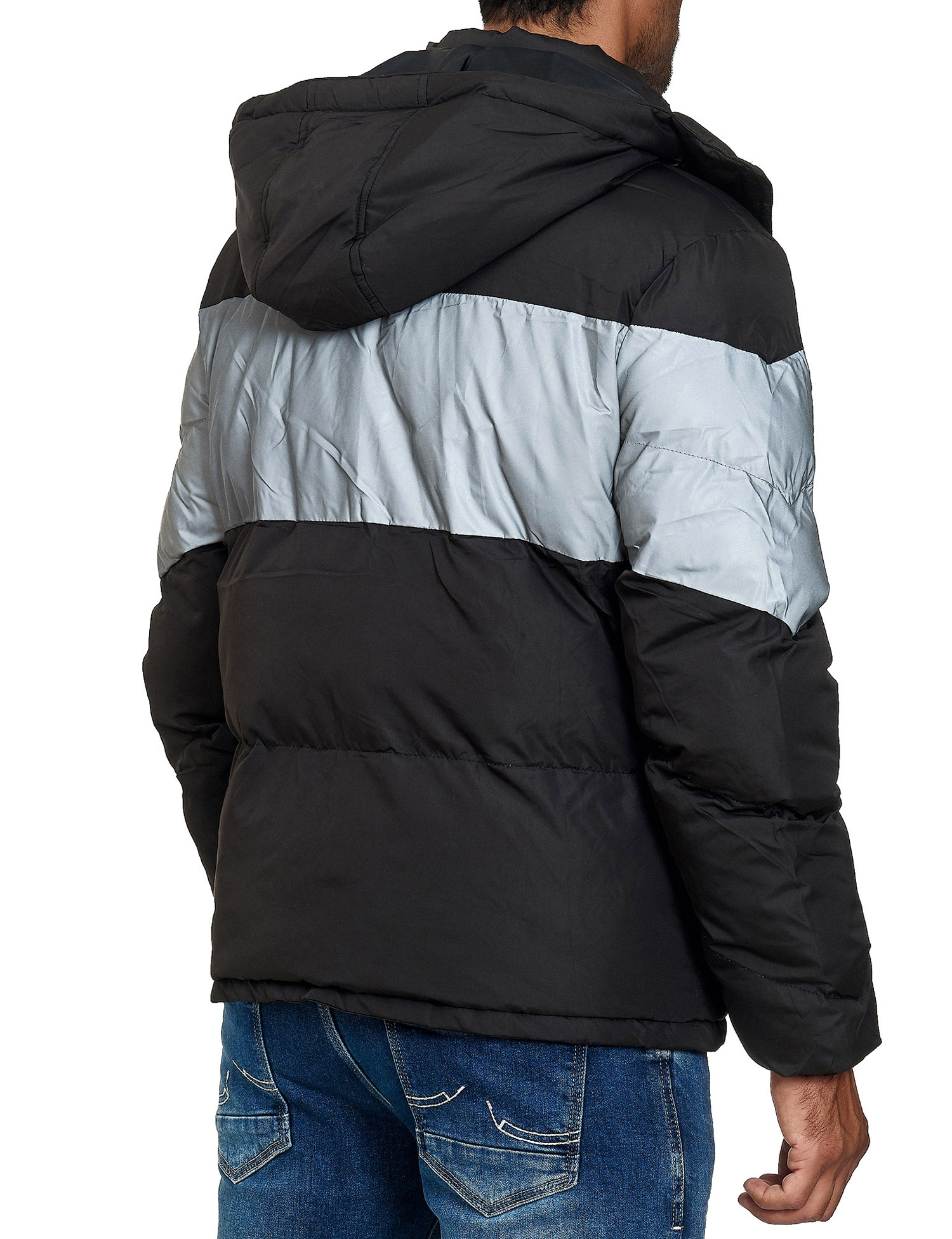 Brave Soul MJK Lightning Padded Jacket Black White | Winter