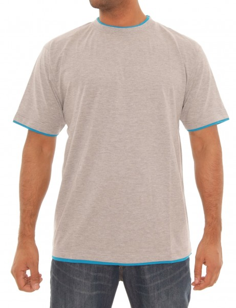 Raw Blue Basic Herren Oberteil T-Shirt RBB-1010_H.Grey/Aqua Hip hop Tee