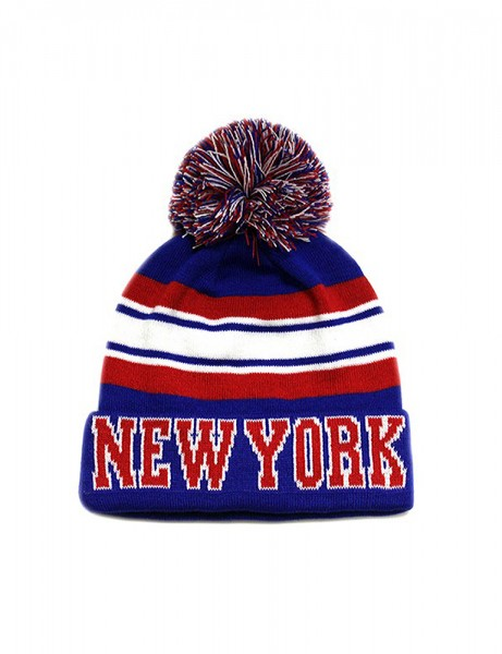 NY Stripe Collage City Pom Pom Beanie Blue