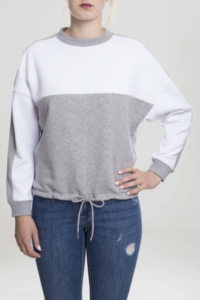 Ladies Oversize 2-Tone Stripe Crew grey/white TB1842-01219 Grey