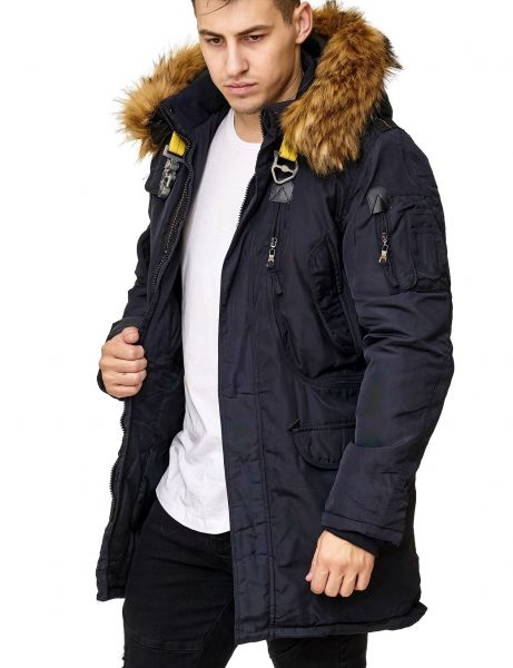Yes Design Men Fur Hooded Winter Jacket TG-2806 Dark Blue