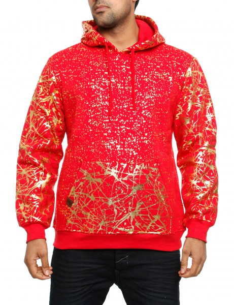 Imperious Gold Splatter Hoody HS549 Red